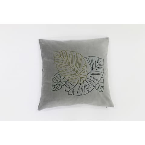 Jiti Grey Tropical Leaf Solid Color Velvet Accent Pillow - 24 x 24