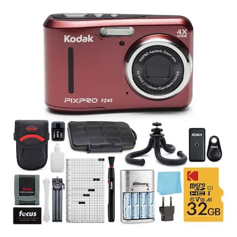 Kodak PIXPRO FZ43 Friendly Zoom Digital Camera (Red) Accessory Bundle