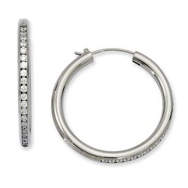 Chisel Titanium CZ Hoop Earrings