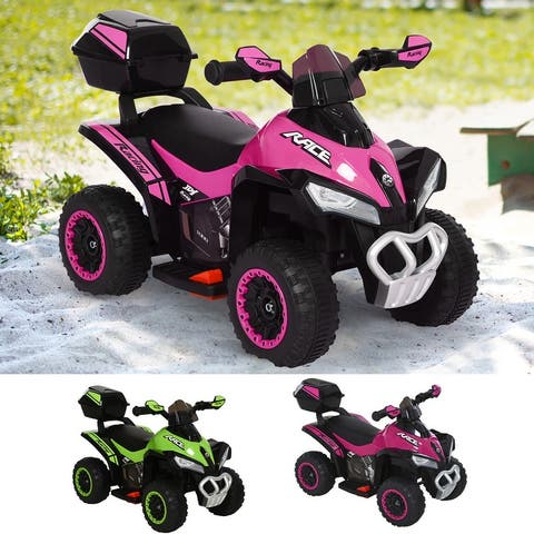 AOSOM Kids Electric ATV Motorcycle Bench Buggy Quad Ride On Car 6V Battery Powered Electric for 18-36 Months Old w/ MP3
