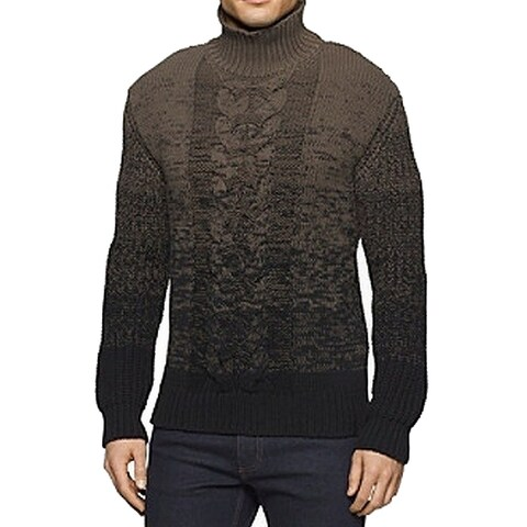 Calvin Klein Green Mens Size 2XL Mock-Neck Ombre Cable Knit Sweater