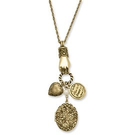 Brass Locket and Charms Necklace - 30in