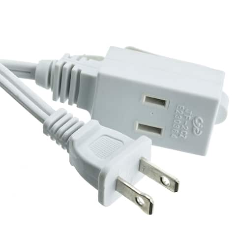 Offex 12 Feet Indoor 2 Prong Unpolarized Power Extension Cord - White