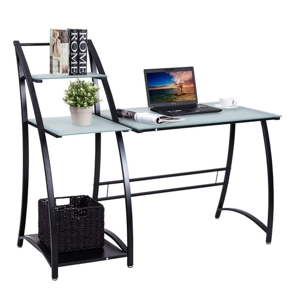 Gymax Computer Desk PC Laptop Table Glass Top Writing Study Workstation  With Shelves   As Pic