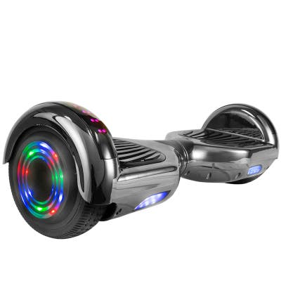 Hoverboard with LED Wheels/Rims and Bluetooth Speakers in Black Chrome