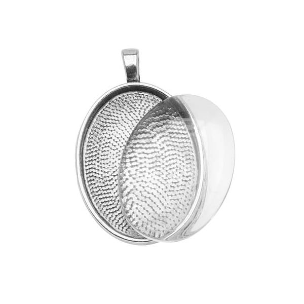 Antiqued Silver Plated Oval Bezel With Glass Oval Cabochon 22x30mm - Pendant Kit
