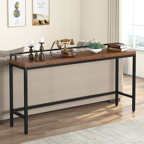 Industrial 71 Inch Extra Long Solid Wood Sofa Table Console Tables