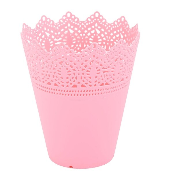 Outdoor Garden Plastic Hollow Design Flower Vase Flowerpot Plant Holder Pink