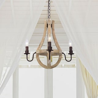 "Farmhouse 4-Light Floyer Distressed Wood Chandelier - h19.5""xw19"""