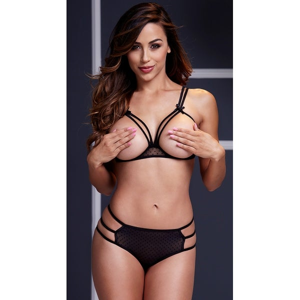 48f0a8f193dbe Shop Strappy Open Cup Mesh Bra And Panty Set