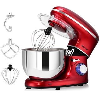Costway Electric Food Stand Mixer 6 Speed 6.3Qt 660W Tilt-Head Stainless Steel Bowl - Red