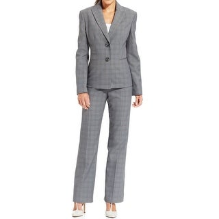 Le Suit NEW Gray Purple Womens 10 Plaid Seamed Two Button Pant Suit