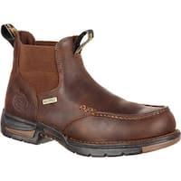 "Georgia Boot Men's GB00156 5"" Athens Chelsea Waterproof Work Boot Dark Brown Full Grain Leather"