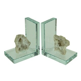 White Crystalized Geode on Glass Bookend Set