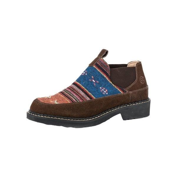 Roper Western Shoes Womens Isabel Aztec Slip Brown