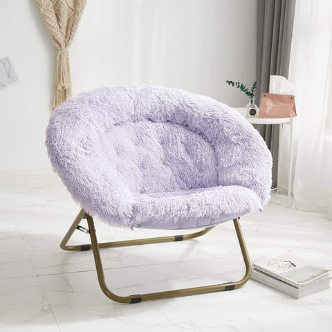 "Urban Shop 37"" Mongolian Faux Fur Oversized Saucer Chair"