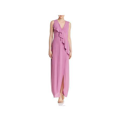 BCBG Max Azria Womens Evening Dress Sleeveless Faux-Wrap