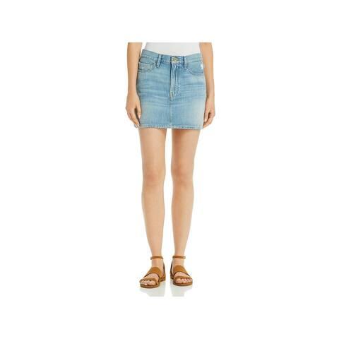 Frame Denim Womens Mini Skirt Distressed Cotton