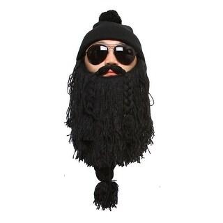 Black Cuffed Beanie w/ Pom and Knit Beard