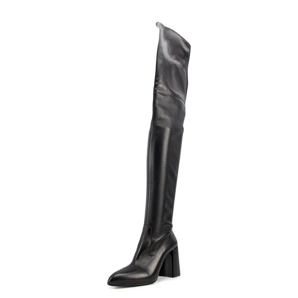 Prada Mirta Women Pointed Toe Leather Black Over the Knee Boot