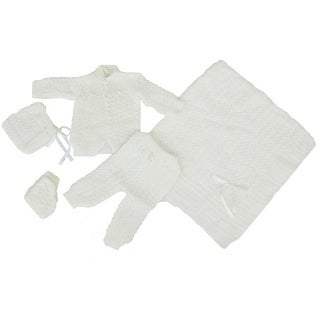 Baby Boy Girl White Pants Hat Booties Sweater Blanket Newborn Set