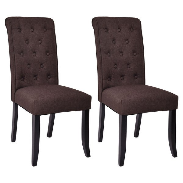 upholstered tufted dining chairs dining room costway set of dining chairs fabric upholstered tufted armless accent home kitchen brown shop