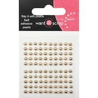 Want2Scrap Self-Adhesive Baby Bling 2.5mm 100/Pkg-Le Creme Pearls