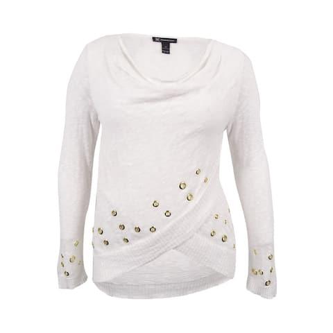 INC International Concepts Women's Grommet-Trim Knit Sweater (XL, Washed White) - XL