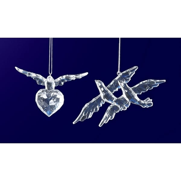 """Club Pack of 24 Icy Crystal Decorative Clear Bird Ornaments 3.3"""""""
