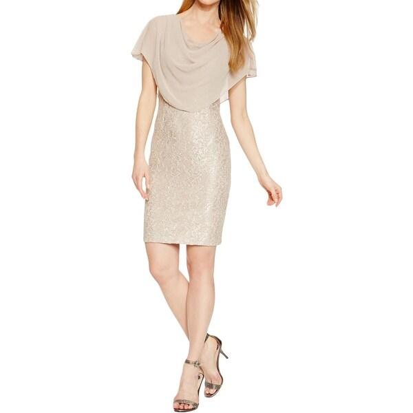 Jessica Howard Womens Petites Capelet Dress Lace Glitter