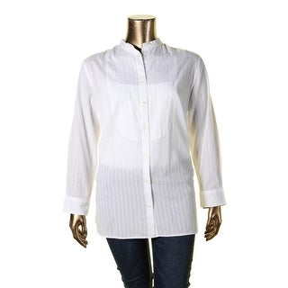Lauren Ralph Lauren Womens Plus Button-Down Top Striped Mandarin Collar