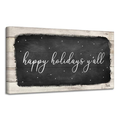 Ready2HangArt 'Happy Holidays Y'all' Holiday Canvas Wall Art by Olivia Rose