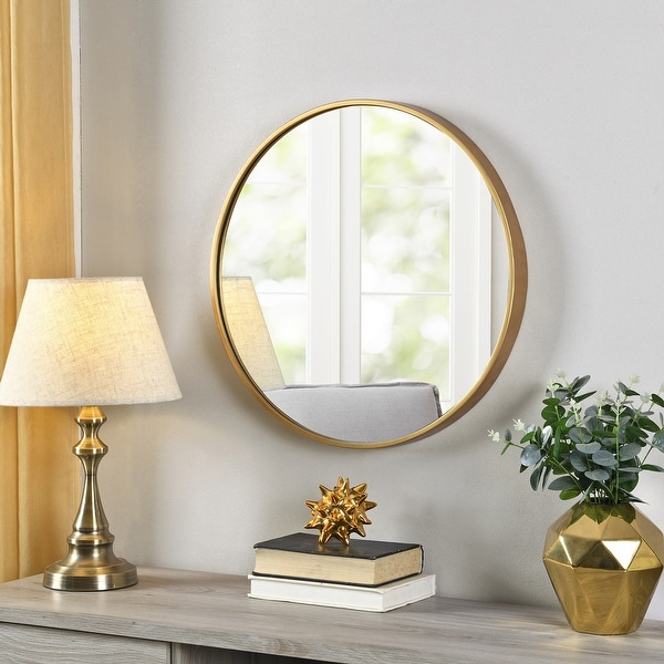 FirsTime & Co.® Gold Beckham Round Mirror, American Crafted, Gold, Mirror, 22 x 1.75 x 22 in - 22 x 1.75 x 22 in. Opens flyout.