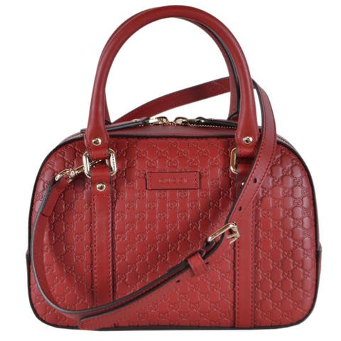 Gucci Women's 510289 Micro GG Red Leather Convertible Satchel Purse