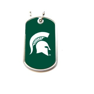 Michigan State Spartans Dog Tag Domed Necklace Charm Chain NCAA