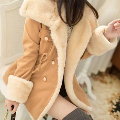 Coats Women Wool Slim Double Breasted Wool Coat Winter Jacket Plus Size