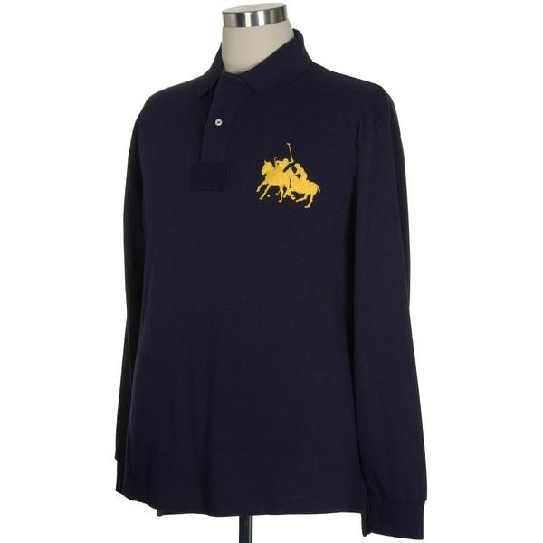 Polo Ralph Lauren Shirt XXX-Large Tall Dual Match Player Shirt 3XLT Mens Big Pony Navy Blue