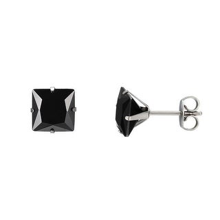 Black Princess Cut Earrings Solitaire Stainless Steel Cubic Zirconia 8mm Classy