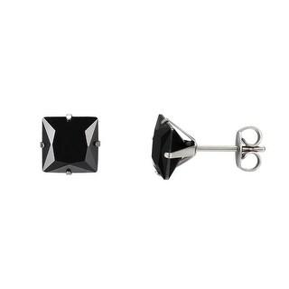 Black Princess Cut Earrings Studs Cubic Zirconia Stainless Steel 6mm Mens Ladies