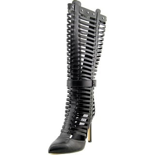 Chelsea & Zoe Primero Pointed Toe Synthetic Knee High Boot