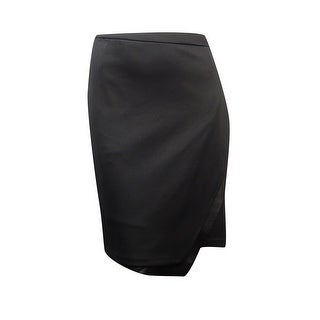 Calvin Klein Women's Plus Size Faux Leather Trim Scuba Skirt