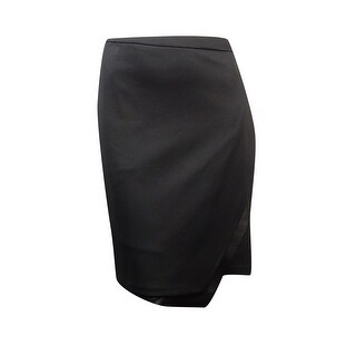 Calvin Klein Women's Plus Size Faux Leather Trim Scuba Skirt - Black