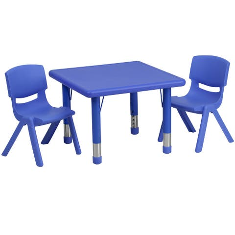 "24"" Square Plastic Height Adjustable Activity Table Set with 2 Chairs"