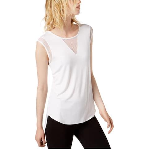 Bar Iii Womens Mesh-Inset Embellished T-Shirt