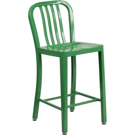Shop Collins 24u0027u0027 High Green Metal Indoor/Outdoor/Patio/Bar Counter Height  Stool W/Vertical Slat Back   Free Shipping Today   Overstock.com   15942668