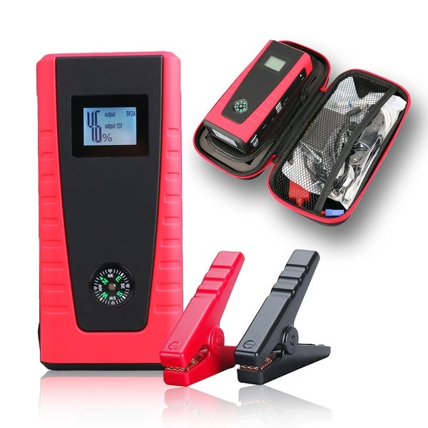 Indigi® Emergency Mobile Vehicle Jump Starter + SOS Lights + USB Outlets for Laptop & SmartPhones - black | red