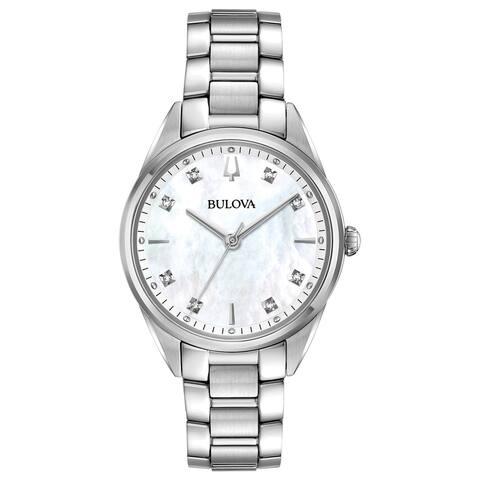 Bulova Women's 96P199 Sutton Stainless Diamond Accent Bracelet Watch - Silver-Tone