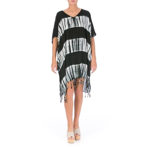 b5192060affd9d Shop Beach by Exist Womens Tie-Dye Fringe Dress Swim Cover-Up - o s - Free  Shipping On Orders Over  45 - Overstock - 18414991