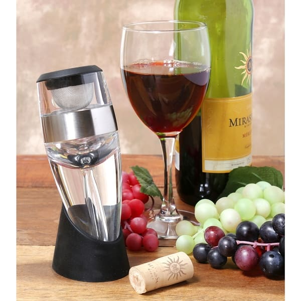 Home District Wine Aerator And Pourer Unique Hand Held Red Wine Decanter Includes Filter Rubber Display Base And Travel Bag Overstock 30290800