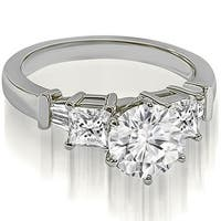 1.30 cttw. 14K White Gold Round Princess Baguette Diamond Engagement Ring